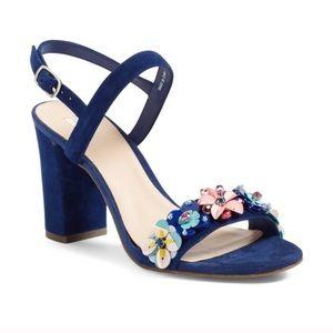 B.P. Blue Suede Heels With Floral Appliqué